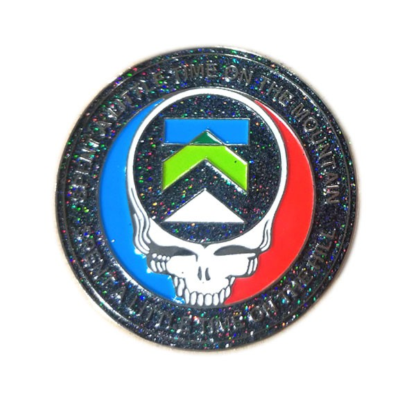 Grateful dead enamel lapel pin with glitter