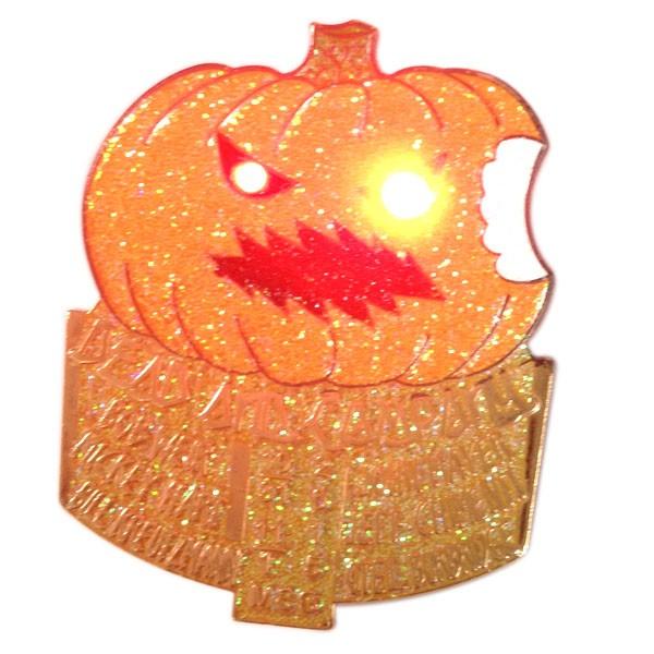 custom pumpkin enamel metal pin with led light