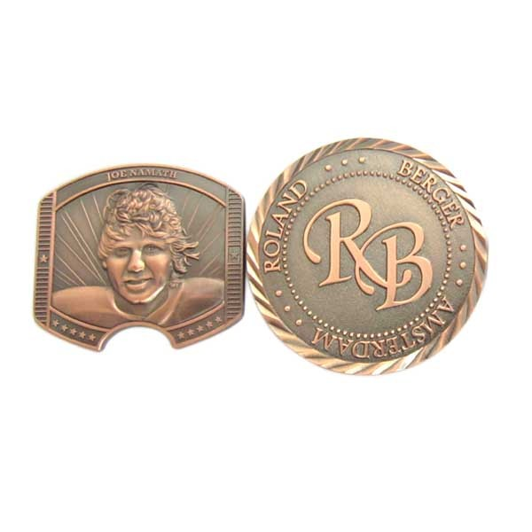 Custom 3D challenge coin with antique copper plated