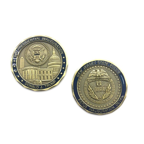 Souvenir 3D challenge coin with antique brass plated