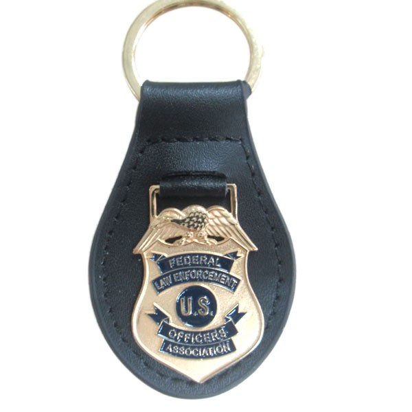custom gold security keychain with leather