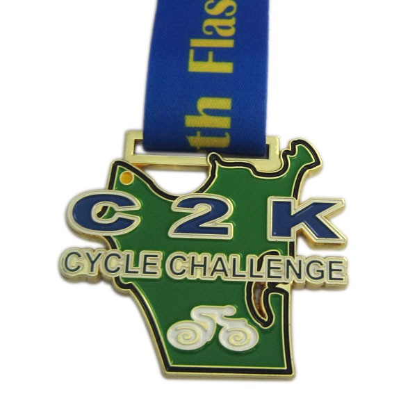 Custom cycle challenge medal with gold plate