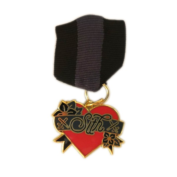 hard enamel medal lapel pin with ribbon